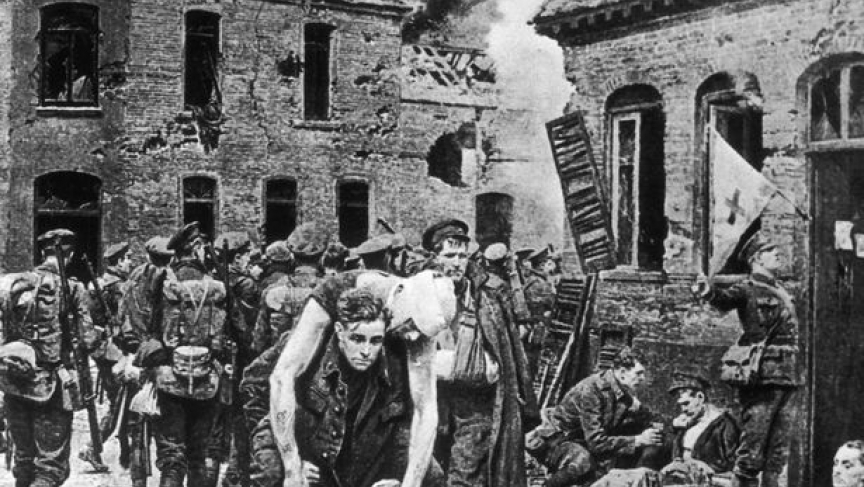 Pvt Henry Tandey carrying a comrade to safety in the First Battle of Ypres, by Fortunino Matania. This was the picture acquired by Hitler in 1937.