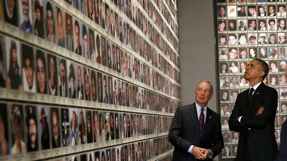President Barack Obama and former New York City Mayor Michael Bloomberg view portraits of 9/11 victims at the opening of the National September 11 Memorial Museum in May.