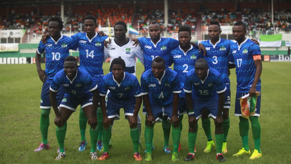 The Sierra Leone national soccer team poses at their 2015 African Nations Cup qualifying soccer match against Sierra Leone at the Felix Houphouet Boigny stadium in Abidjan on September 6, 2014.