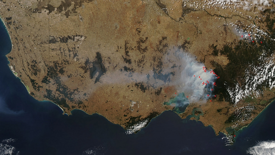 A NASA satellite image shows some 20 fires burning in Australia on February 13, 2009.