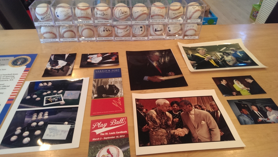 A few of Randy Kaplan's signed baseballs and photos