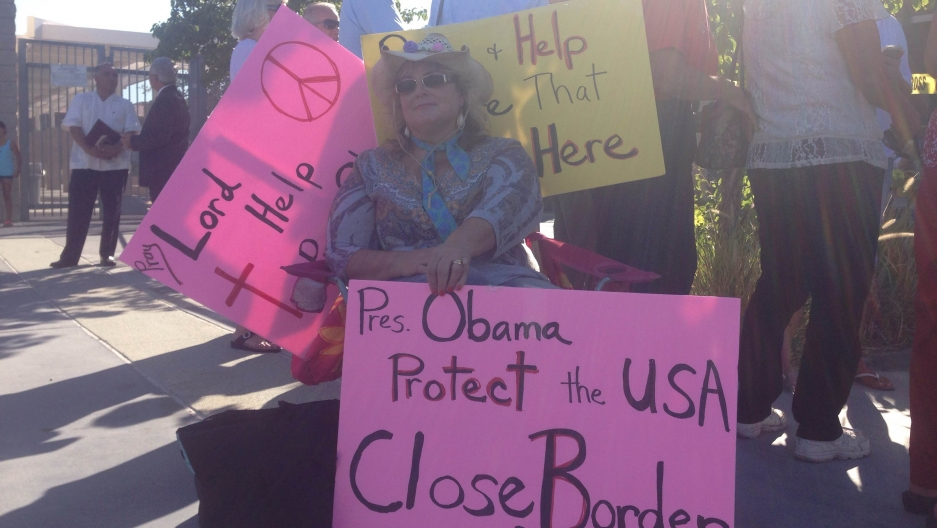 Protestors in Murrieta, California. Several community members were concerned about undocumented migrants being processed in the city's Border Patrol station.