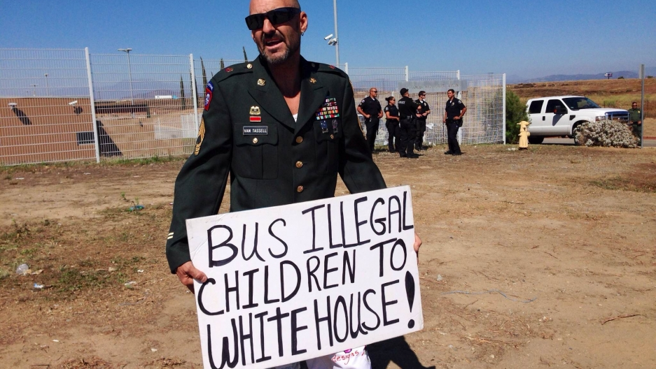 A protester in Murrieta, California, who denounced federal government plans to process undocumented migrants at the city's Border Patrol station. The city is predominantly white, but has a growing Latino population.