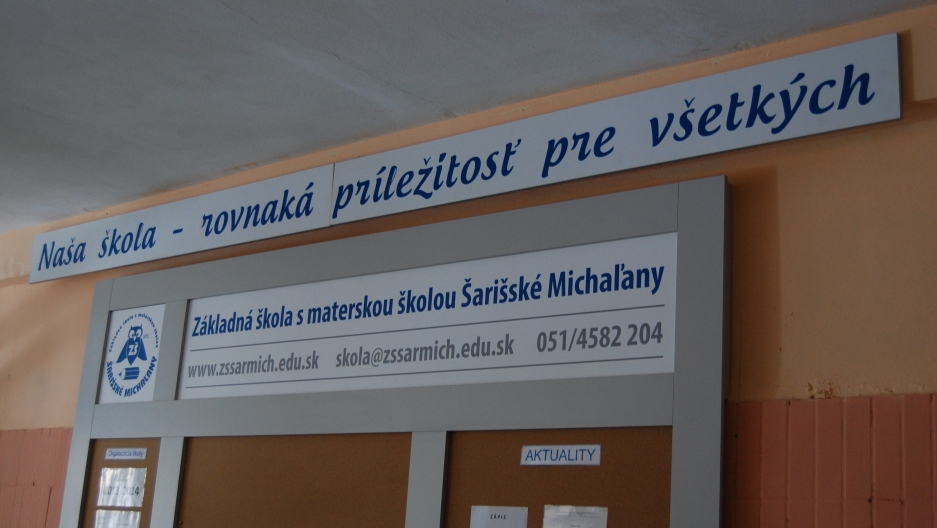 "Šarišské Michaľany elementary school's new slogan, ""Our School: The Same Opportunities for Everyone."""