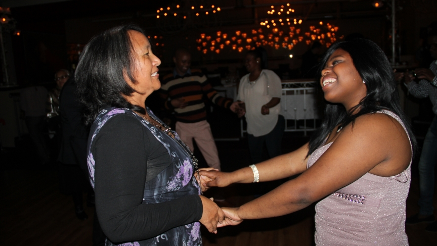 Tandie dances with her teacher.