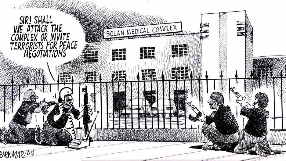 This cartoon was a comment on an attack by militants on a hospital in Baluchistan. Doctors, nurses and patients were taken hostage. One suicide bomber waited for women to come in for medical treatment and then blew himself up. The cartoon was rejected.