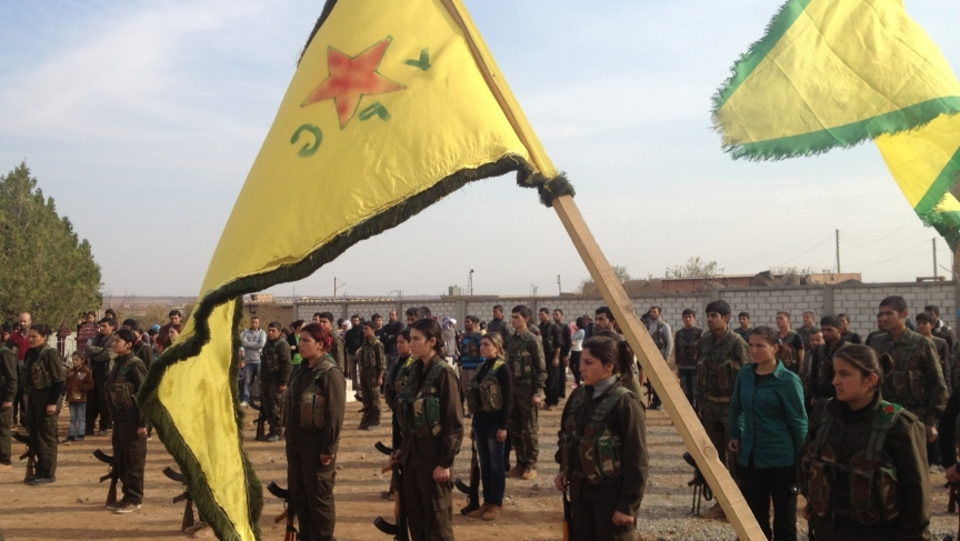 Female YPG fighters at a recent funeral
