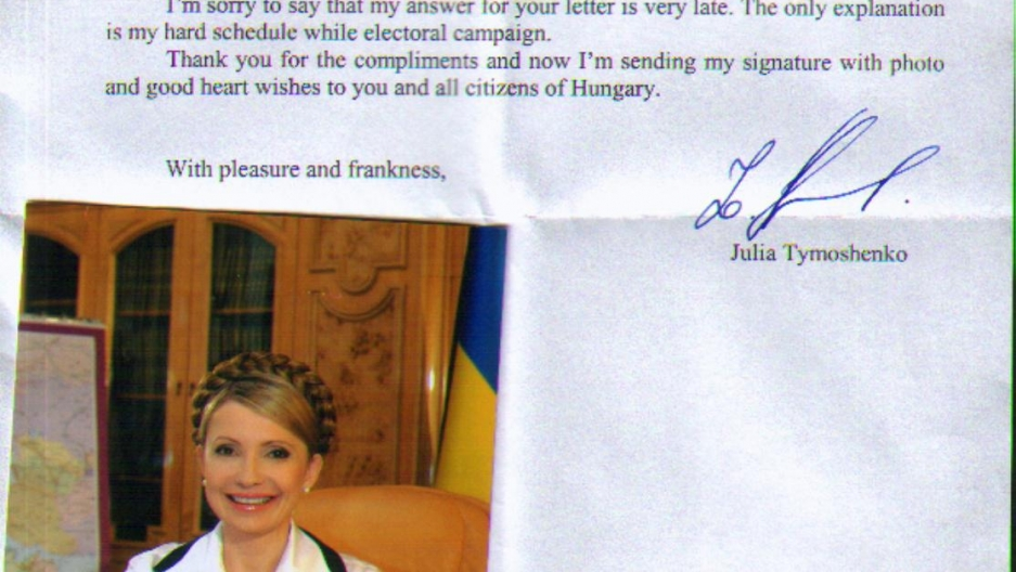 Ukraine is an important country for Zoltan's collection. Since Leonid Kravchuk, he has managed to get every Ukrainian President and Prime Minister's signed photo. His favorite is Yulia Tymoshenko, who drew a heart under her signature.