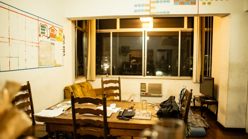 Midia Ninjas headquarters in Rio is a messy apartment filled with laptops and organizational charts. This is where all protest coverage planning happens.