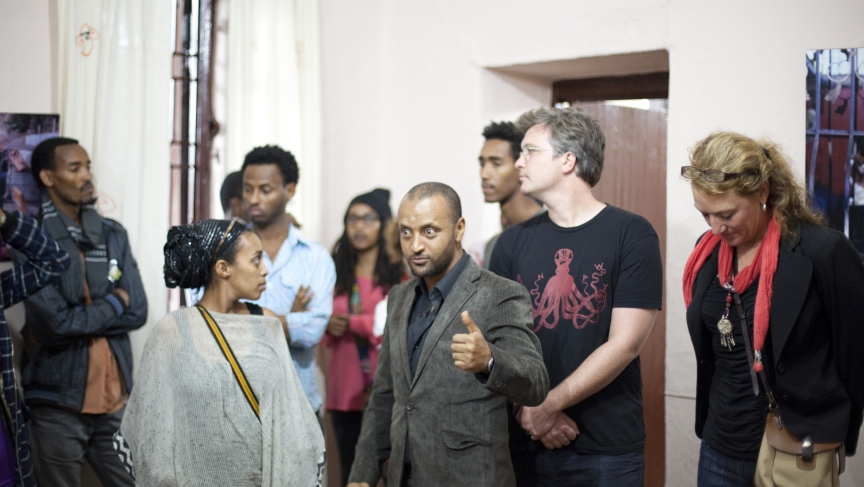 Laura Hoemeke from IntraHealth, Apple Juice Kid, Mohammed Kassa and Munit Mesfin at our public presentation in Ethiopia.