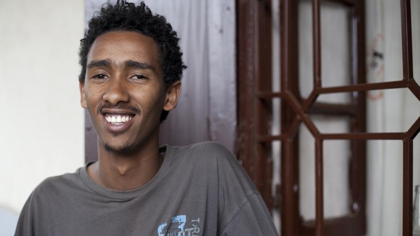 Ifa Mesfin, student and translator for the Ethiopia Beat Making Lab.