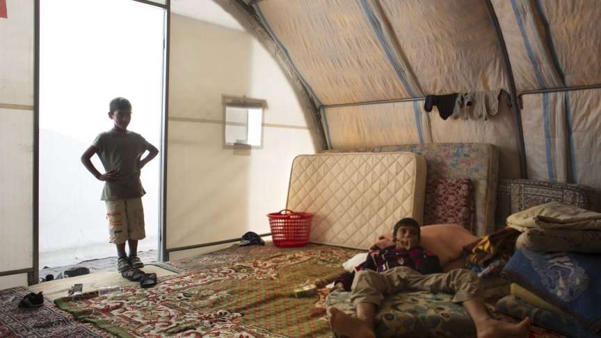 The two tents are covered with thin rugs and at night, mattresses are spread around to accommodate the families sheltering at the Cemevi. Meanwhile, many more Syrian refugees are said to be sleeping in city parks.