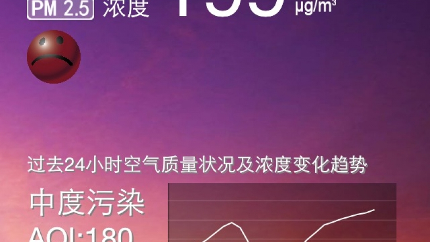 This smart phone app gives readings on the air quality in Beijing. China's environment ministry does the monitoring.