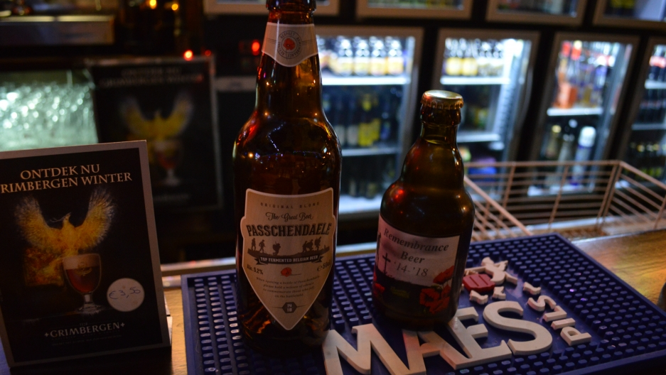 "Beer as commemoration: Two World War I ""remembrance beers"" on sale in an pub in Ypres, Belgium."