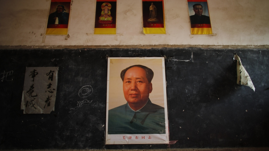 Posters of Mao adorn every classroom at the Democracy School in Henan province.