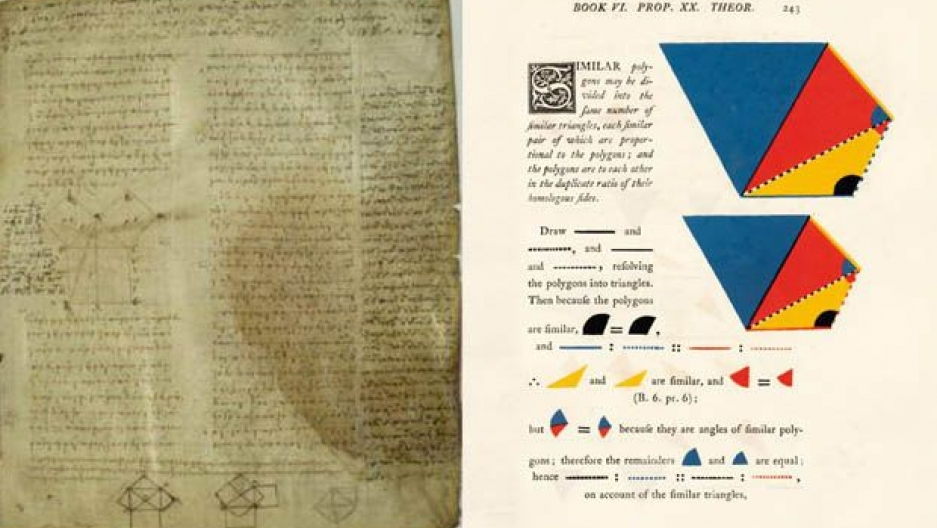 A page from Euclid's in its classic style next to a page from Byrne's 1847 version.