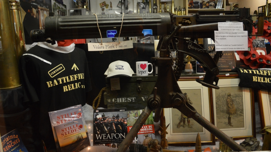 Some of the WWI souvenirs on offer in a shop window in Ypres.