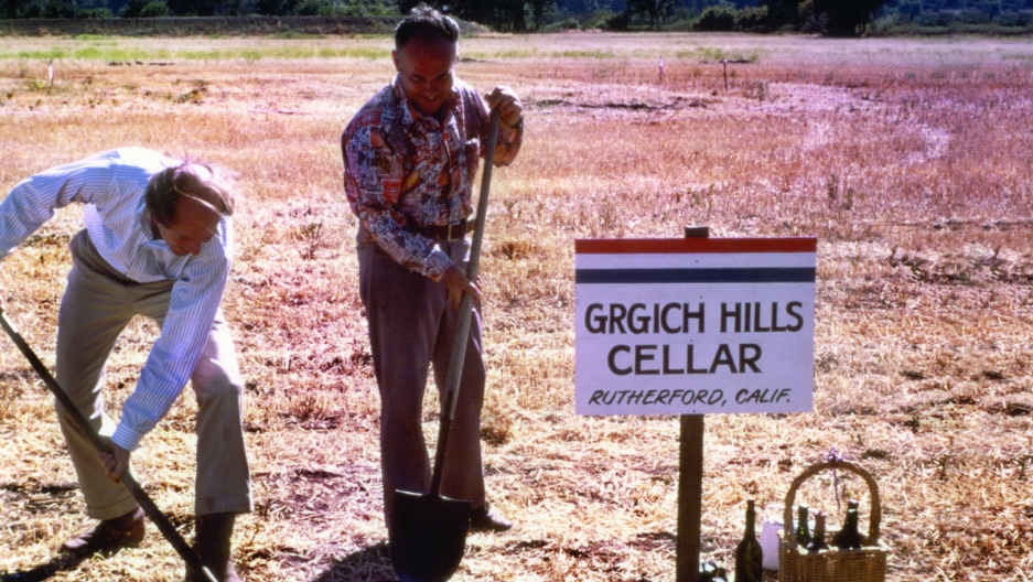 "Grgich and partner Austin Hills break ground on the Grgich Hills winery, July 4, 1977.  Grgich called it ""my independence day."""