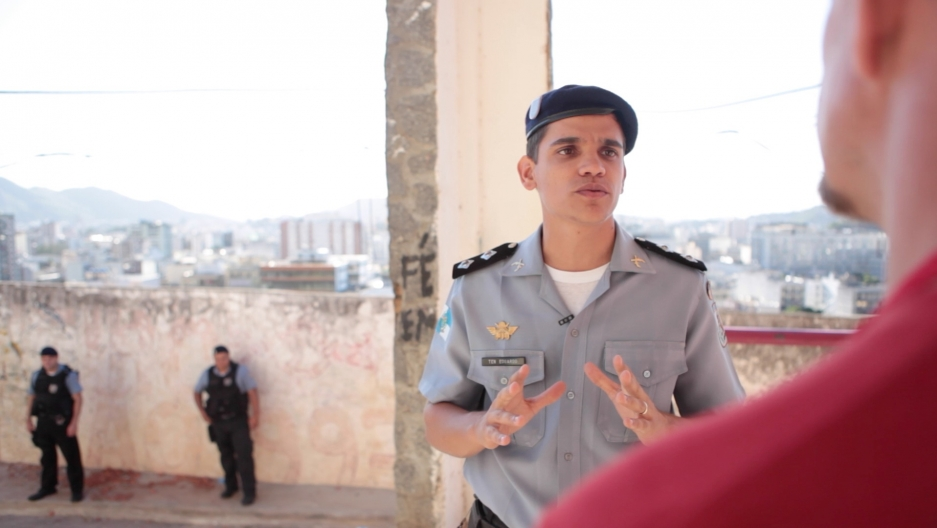 "Military Police Commander Eduardo Carlos says the favela he patrols is safer since the ""Pacification"" program began in 2008. But residents are still wary of the MP's who have a reputation for being trigger happy."
