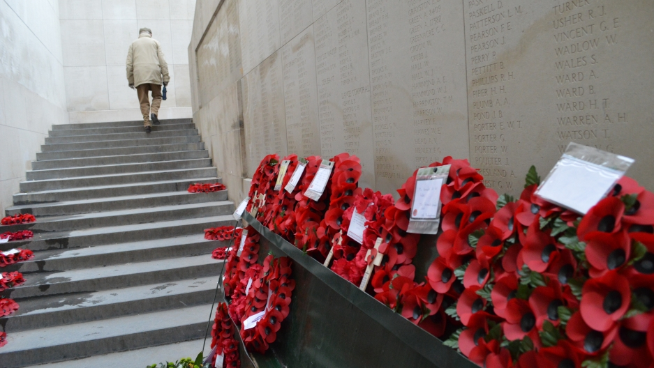 World War I remembrance poppies at the Menin Gate monument in Ypres.