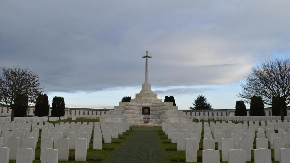 The Tyne Cot World War I cemetery in Flanders, the site of about 12,000 graves of men who died fighting for the British Empire.