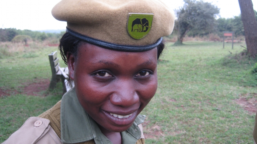 """Kenya Wildlife Service Ranger Mildred Oduor. Being a ranger """"gives you identity, it gives you your heritage,"""" Oduor says."""