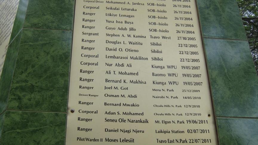 At Nairobi National Park, the long list of names of rangers killed on the job.