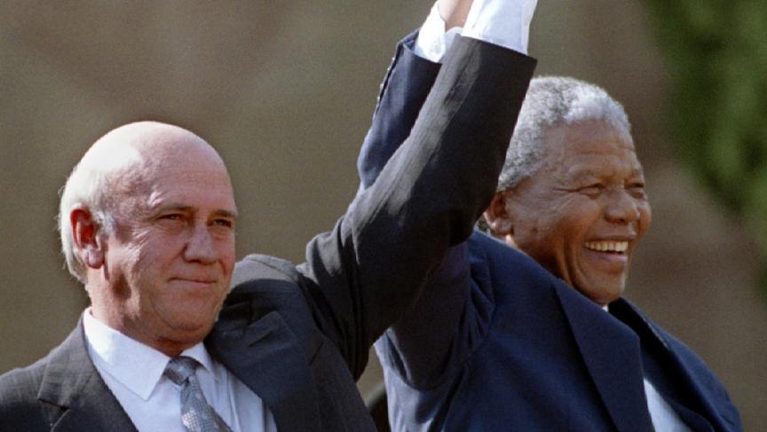 South African President Nelson Mandela and Second Deputy President F.W. de Klerk in 1994