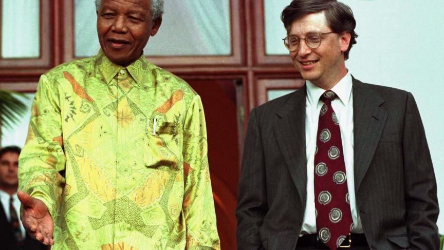 Nelson Mandela and Bill Gates in 1997