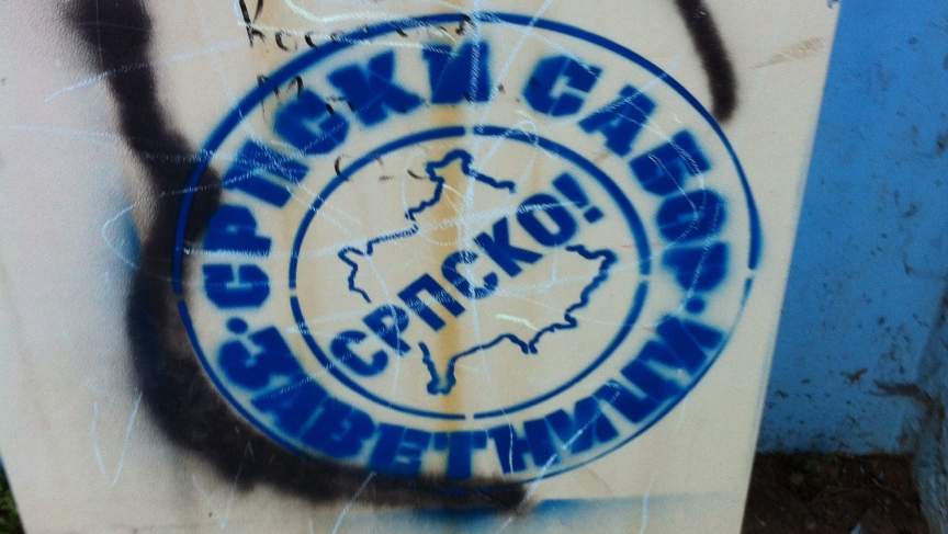 This graffiti underscores the prevailing view in northern Kosovo - that this is Serbian territory.