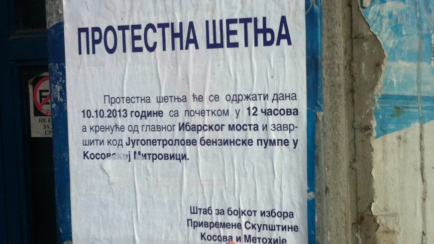 A poster calls on people to protest the elections.
