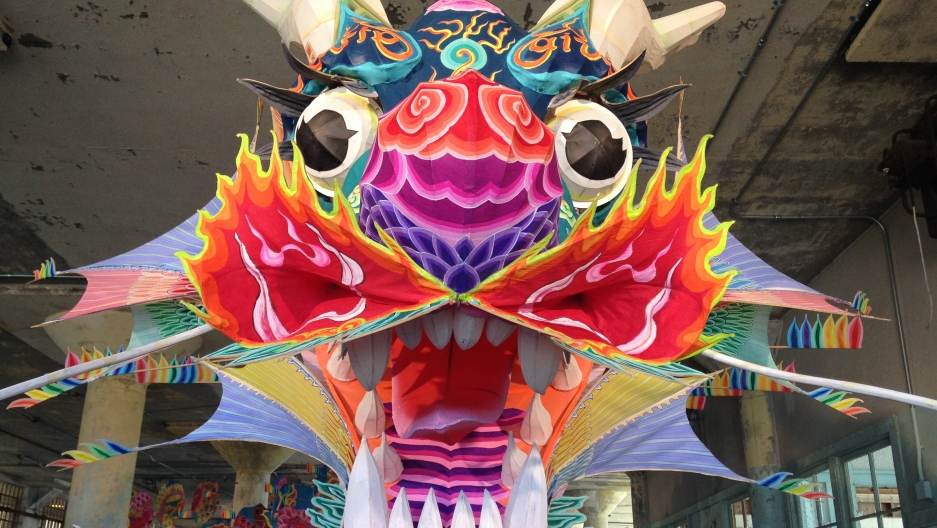A giant paper dragon greets visitors to the Ai Weiwei exhibit that recently opened on Alcatraz Island.