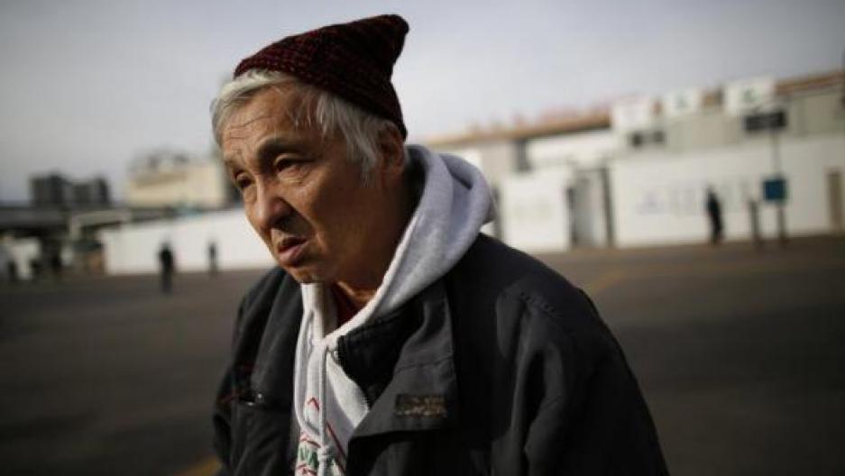 Shizuya Nishiyama, a 57-year-old homeless man from Hokkaido, speaks during an interview with Reuters at Sendai Station in Sendai, northern Japan, December 18, 2013.
