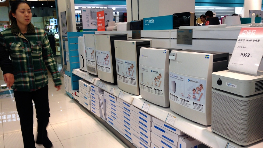 Air purifiers on sale at a Beijing electronics store. They used to be purchased almost solely by foreigners, but not anymore.
