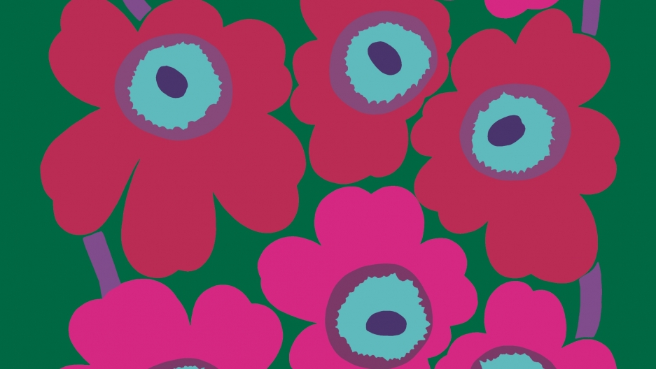A pink and green version of the Unikko design by Marimekko