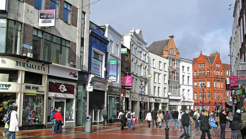 Grafton Street is a principal shopping street in Dublin's city center.