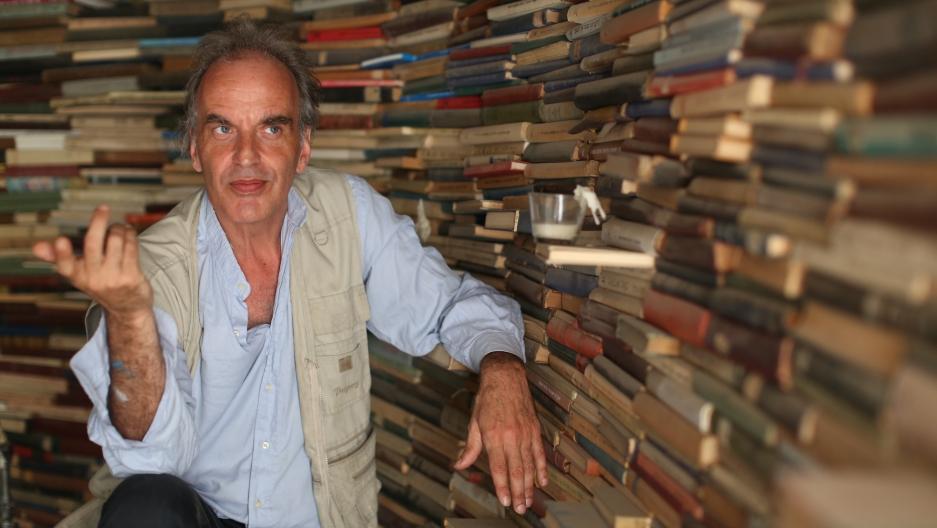 Mendy Cahan in his library, Yung YiDish, at Tel Aviv's Central Bus Station.
