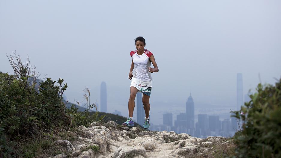 World-renowned mountain trail runner Mira Rai on a training run outside Hong Kong.