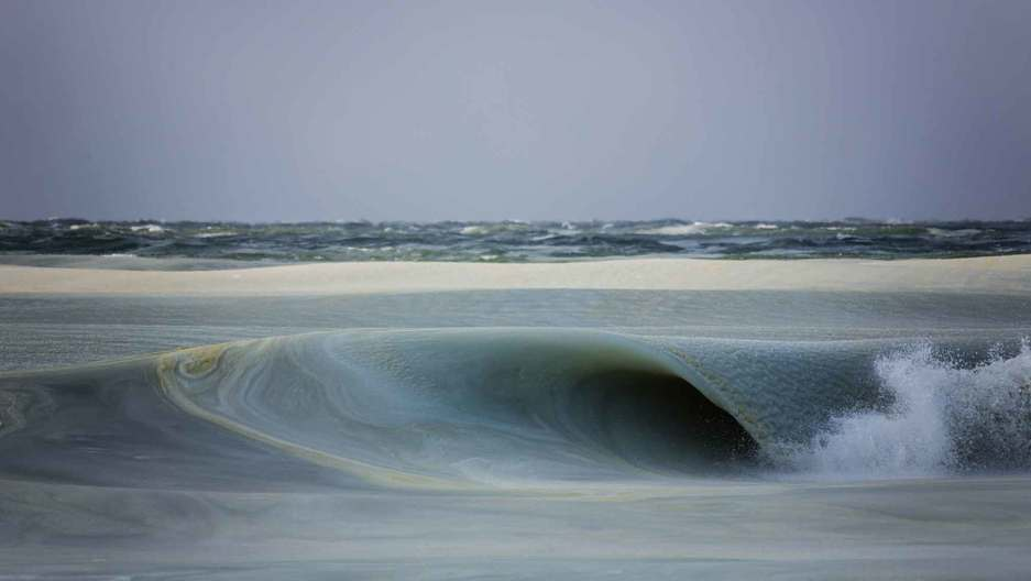 A slushy wave off the coast of Nantucket, in Massachusetts