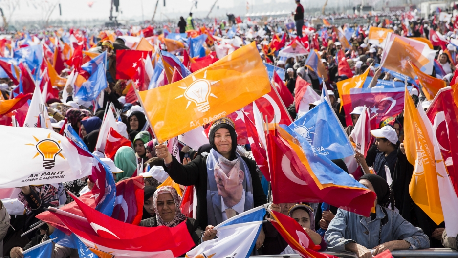 AK Party supporters during a campaign rally in Istanbul. The AKP, Prime Minister Erdogan's Justice and Development Party organized the rally ahead of municipal elections.