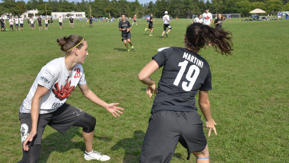 A mixed Ultimate Frisbee game in Devens, Mass. between the teams Boston Slow White and Toronto Union. Boston won the game and ultimately a trip to the national championships.