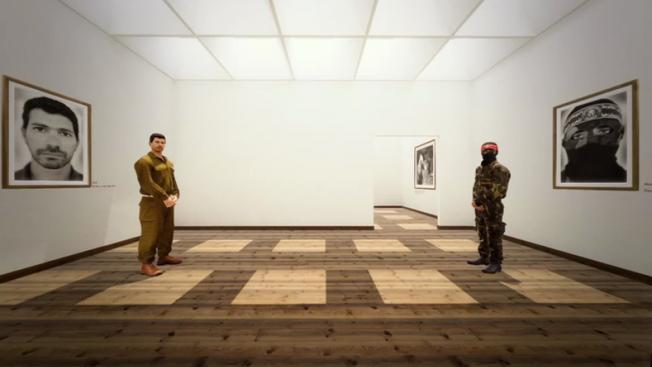 Inside the virtual reality exhibition The Enemy, an Israeli soldier and Palestinian fighter stand on opposite sides of the room