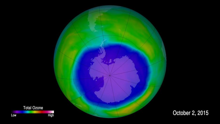 A false-color image showing ozone concentrations above Antarctica on Oct. 2, 2015.