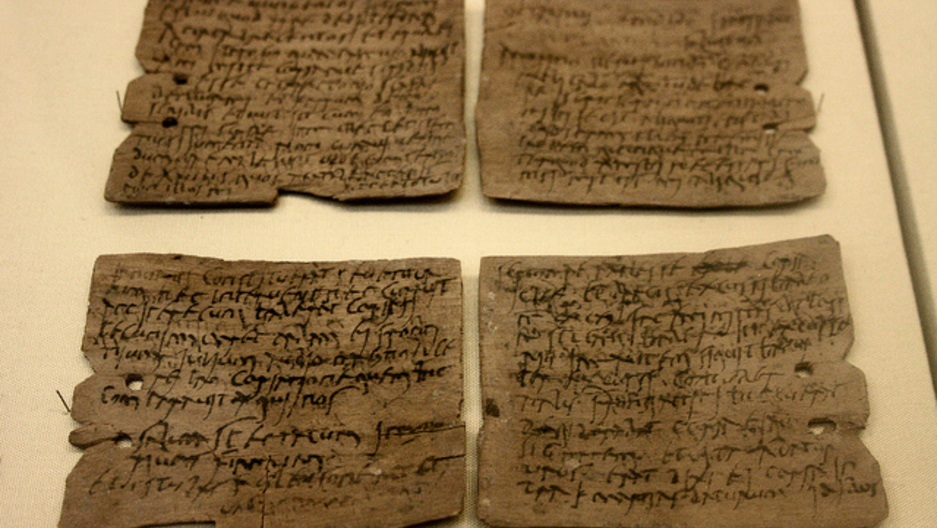 Gallo Roman writing tablet from the Vindolanda Roman fort of Hadrian's Wall, in Northumberland (1st-2nd century AD).
