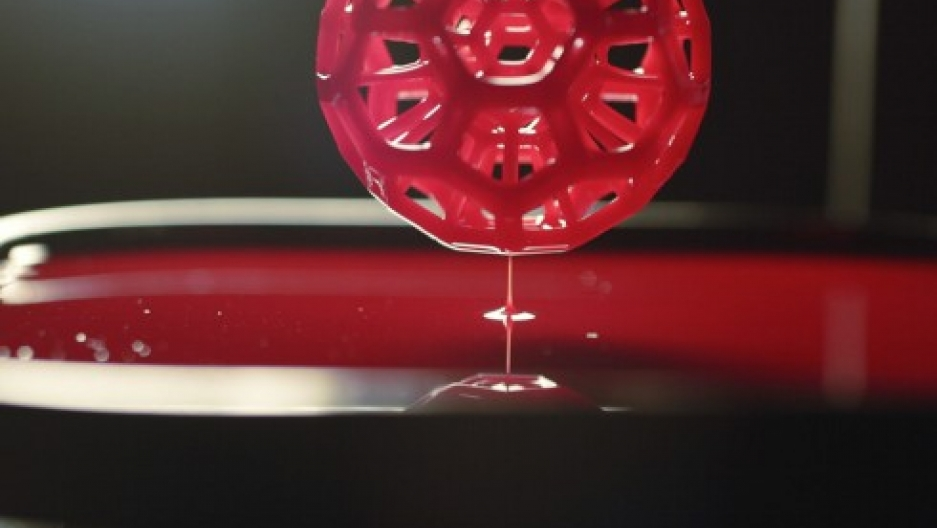 A still image from a demonstration of Carbon3D's Continuous Liquid Interface Production technology.