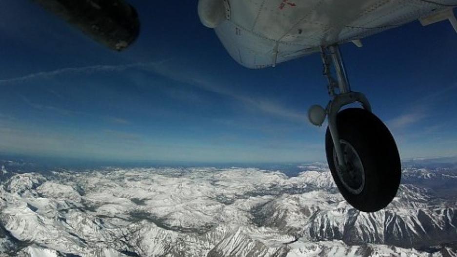 NASA's Airborne Snow Observatory flies above the Sierra Nevada mountain range in California.