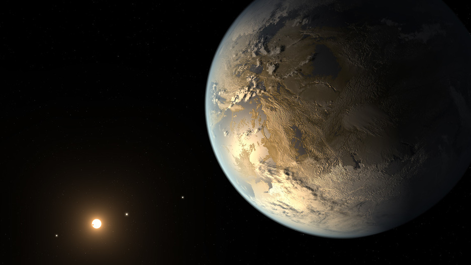 An artist's rendering if Kepler 186f, a world extremely similar to Kepler 438b, an Earth-like exoplanet orbiting an M-class dwarf star in the habitable zone.