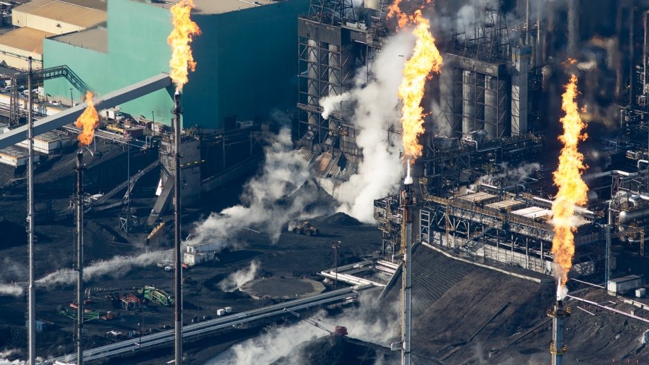 Gas flares at the Suncor Oil Sands Mining Site.