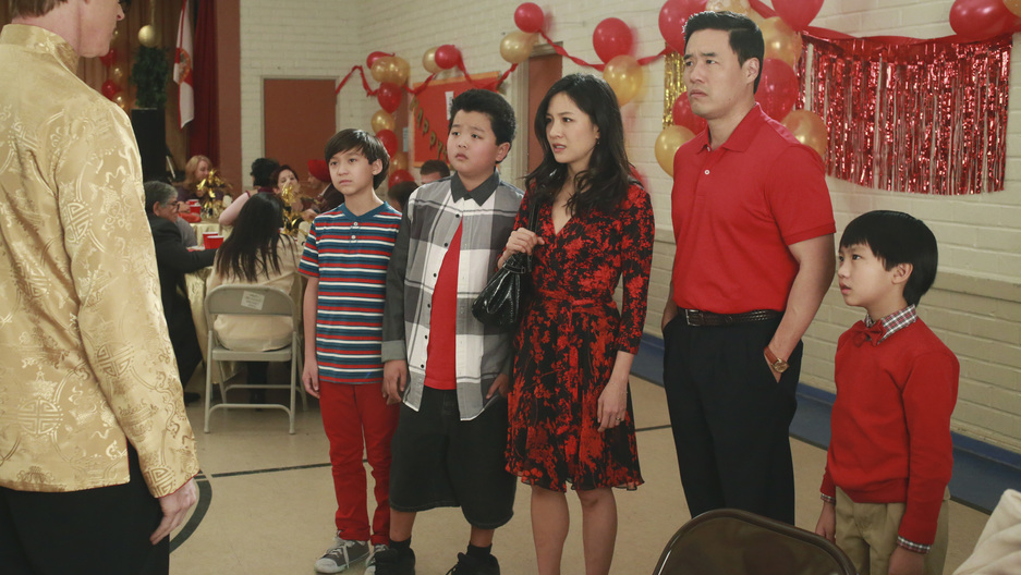 "Four members of the Huang family at a Chinese New Year celebration in the show ""Fresh Off the Boat"""