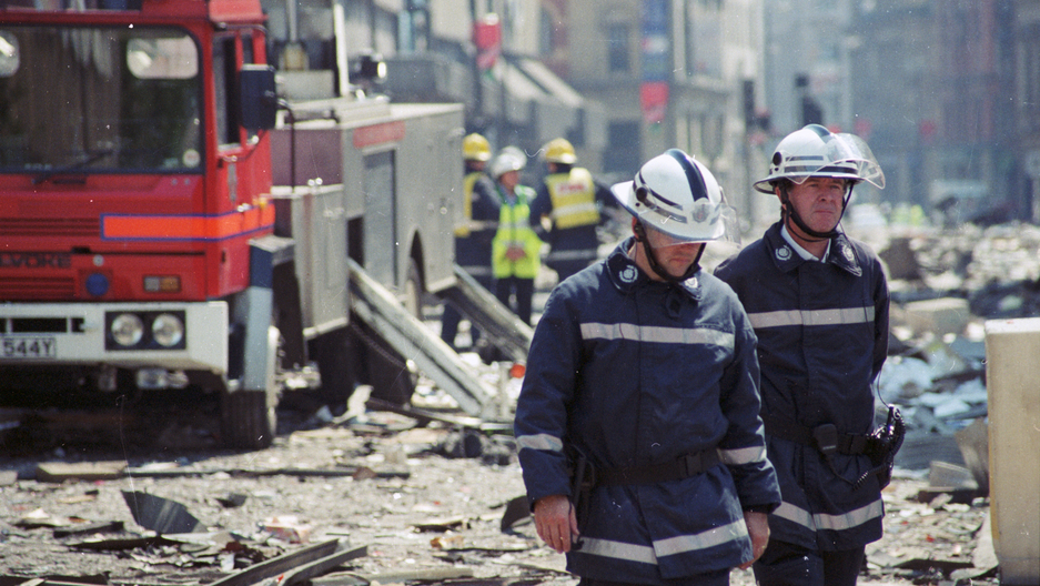Manchester in the aftermath of the 1996 bomb blast.